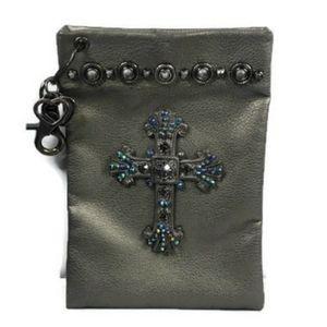 Metallic Rhinestone Cross Bag, Clips on, Clutch